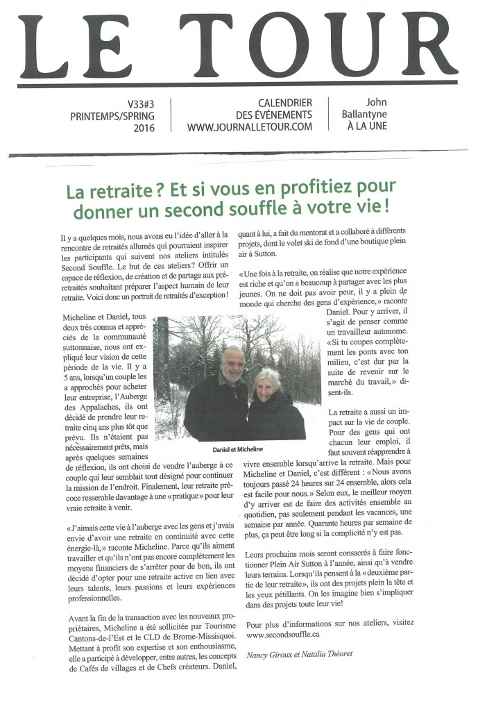 second souffle - article journal le tour printemps 2016